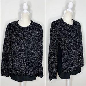 CLUB MONACO layered knit side slit sweater